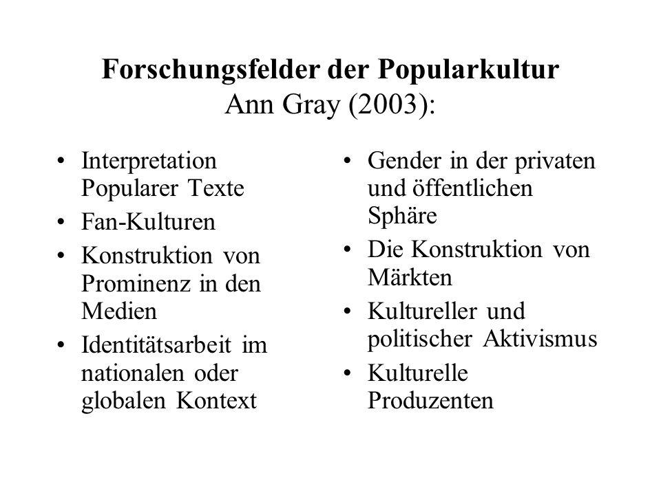 Forschungsfelder der Popularkultur Ann Gray (2003): Interpretation Popularer Texte Fan-Kulturen Konstruktion von Prominenz in den Medien Identitätsarb