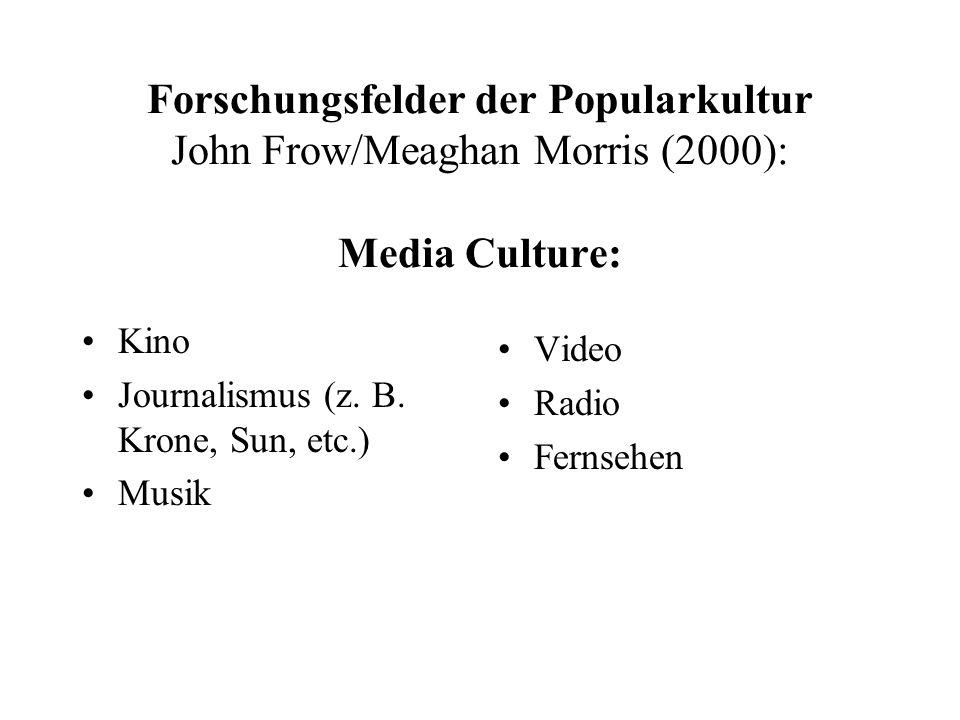 "Forschungsfelder der Popularkultur John Frow/Meaghan Morris (2000): breiteres Netzwerk sozialer und kultureller Aktivitäten: ""Subkulturen Sportkulturen Scientific Culture Technoculture (z.B."