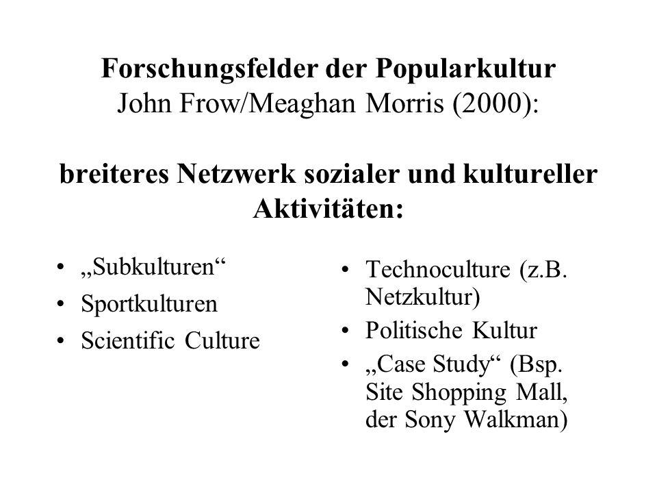 "Forschungsfelder der Popularkultur John Frow/Meaghan Morris (2000): breiteres Netzwerk sozialer und kultureller Aktivitäten: ""Subkulturen"" Sportkultur"