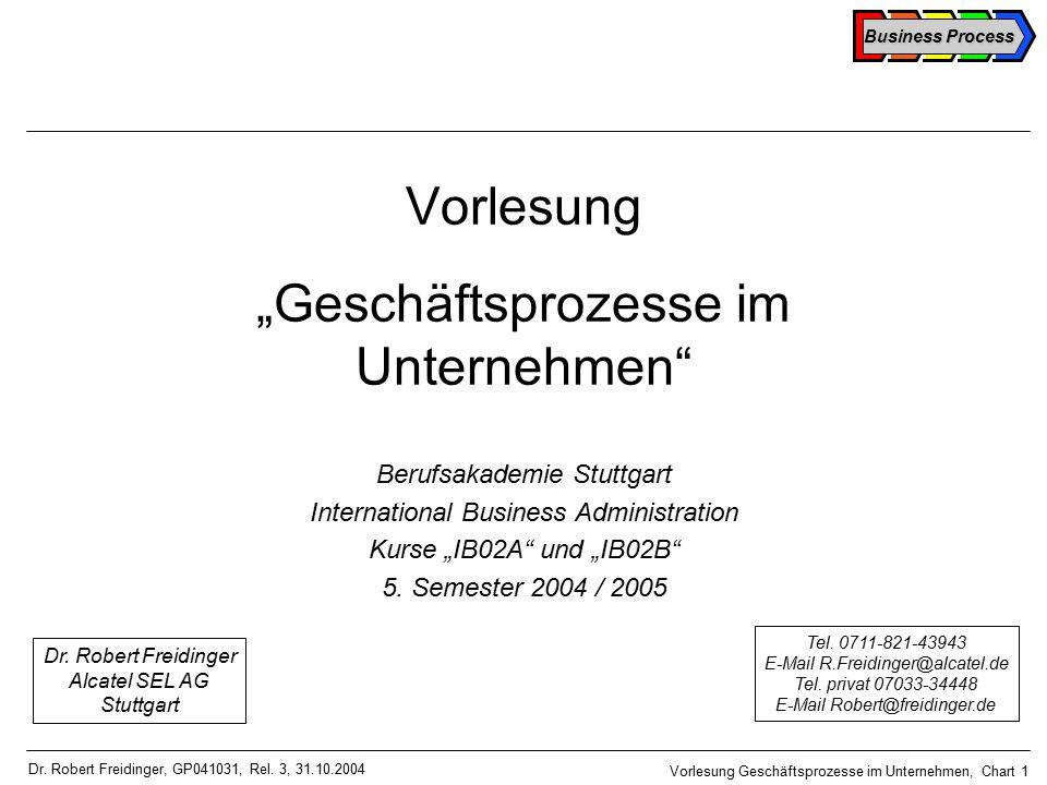 Business Process Vorlesung Geschäftsprozesse im Unternehmen, Chart 1 Dr.