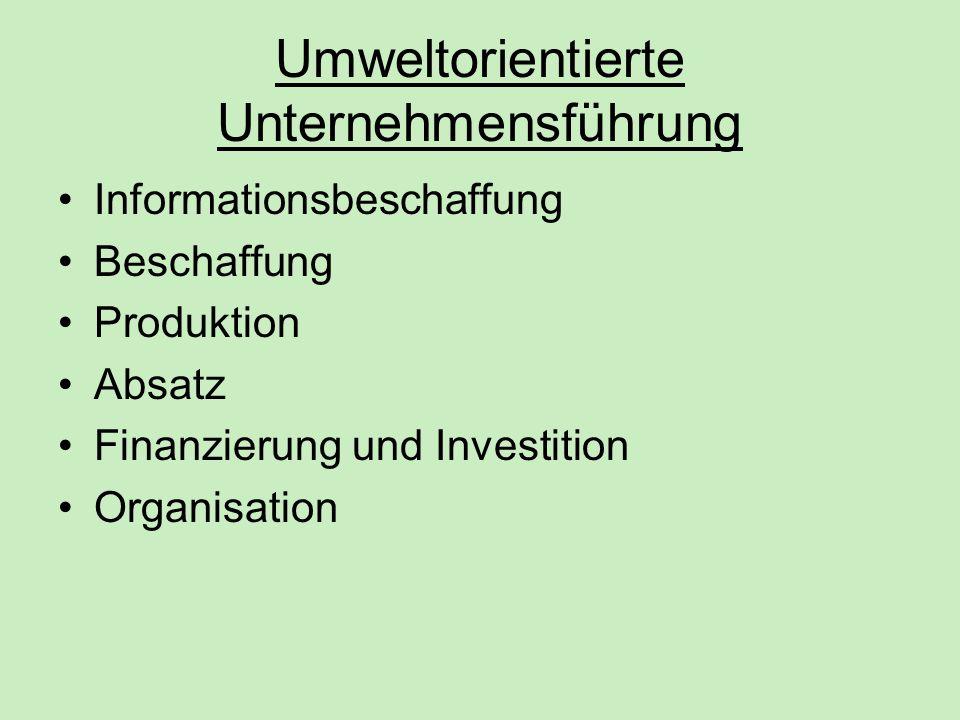 Umweltorientierte Unternehmensführung Informationsbeschaffung Beschaffung Produktion Absatz Finanzierung und Investition Organisation