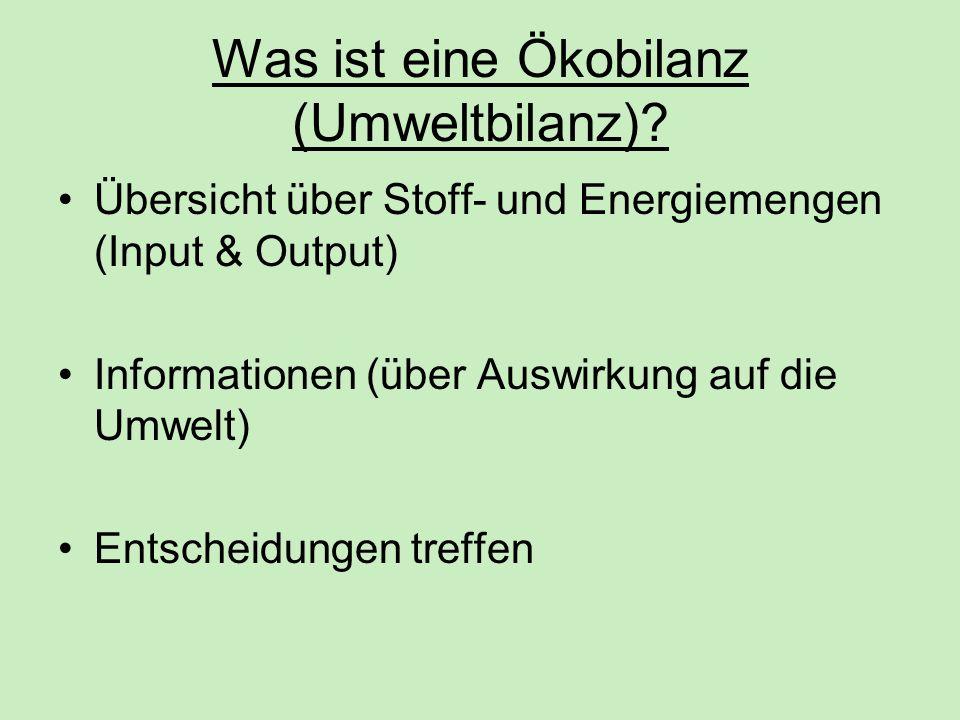 Was ist eine Ökobilanz (Umweltbilanz)? Übersicht über Stoff- und Energiemengen (Input & Output) Informationen (über Auswirkung auf die Umwelt) Entsche