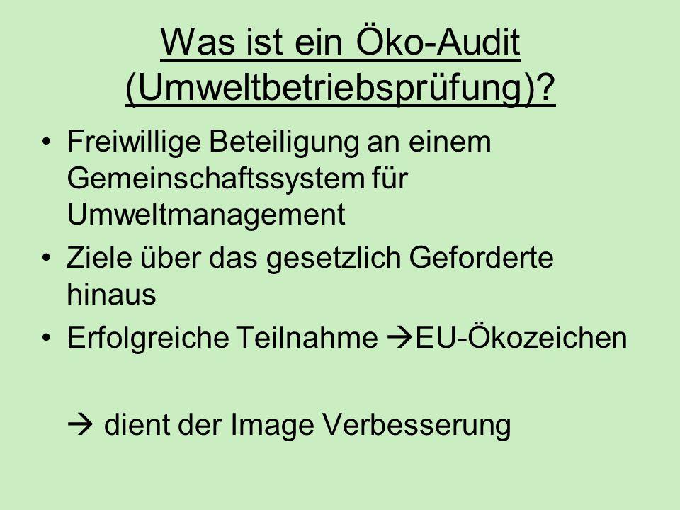 Was ist ein Öko-Audit (Umweltbetriebsprüfung)? Freiwillige Beteiligung an einem Gemeinschaftssystem für Umweltmanagement Ziele über das gesetzlich Gef