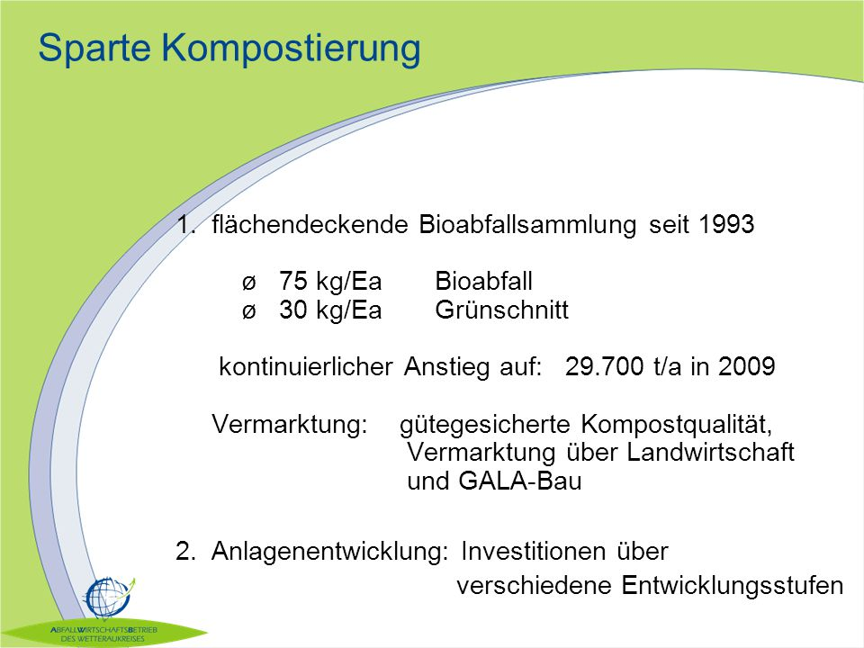Sparte Kompostierung 1.flächendeckende Bioabfallsammlung seit 1993 ø 75 kg/Ea Bioabfall ø 30 kg/EaGrünschnitt kontinuierlicher Anstieg auf: 29.700 t/a