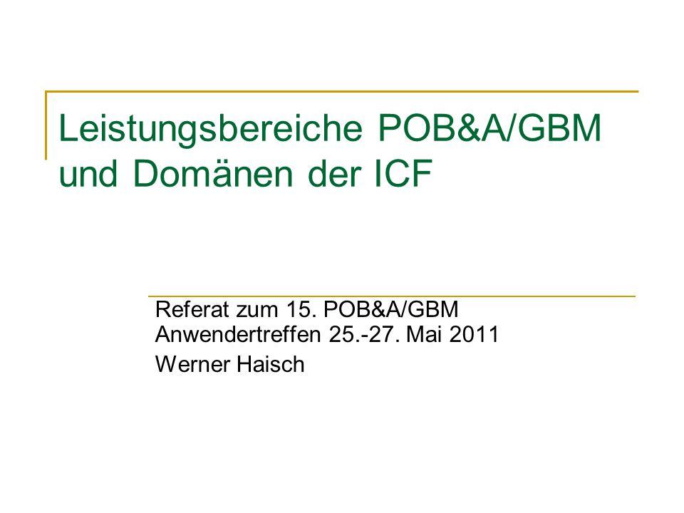 Leistungsbereiche POB&A/GBM und Domänen der ICF Referat zum 15. POB&A/GBM Anwendertreffen 25.-27. Mai 2011 Werner Haisch