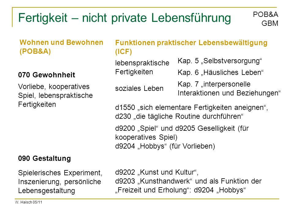 """W. Haisch 05/11 POB&A GBM Fertigkeit – nicht private Lebensführung 070 Gewohnheit 090 Gestaltung d1550 """"sich elementare Fertigkeiten aneignen"""", d230 """""""