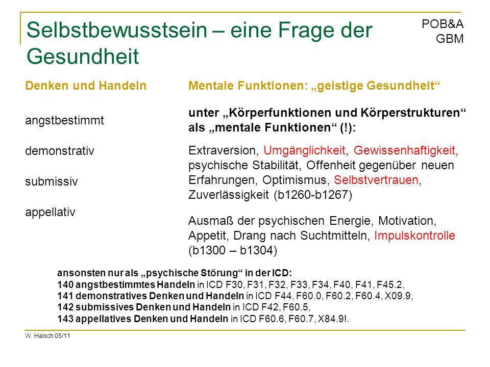 W. Haisch 05/11 POB&A GBM Selbstbewusstsein – eine Frage der Gesundheit Extraversion, Umgänglichkeit, Gewissenhaftigkeit, psychische Stabilität, Offen