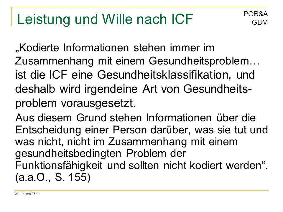 """W. Haisch 05/11 POB&A GBM Leistung und Wille nach ICF """"Kodierte Informationen stehen immer im Zusammenhang mit einem Gesundheitsproblem… ist die ICF e"""
