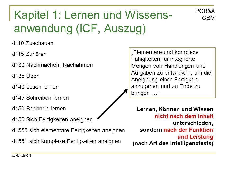 W. Haisch 05/11 POB&A GBM Kapitel 1: Lernen und Wissens- anwendung (ICF, Auszug) d1550 sich elementare Fertigkeiten aneignen d1551 sich komplexe Ferti
