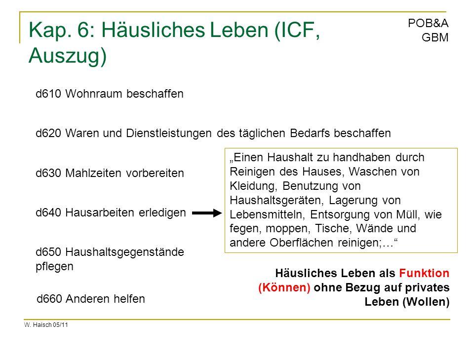 W. Haisch 05/11 POB&A GBM Kap. 6: Häusliches Leben (ICF, Auszug) d610 Wohnraum beschaffen d620 Waren und Dienstleistungen des täglichen Bedarfs bescha