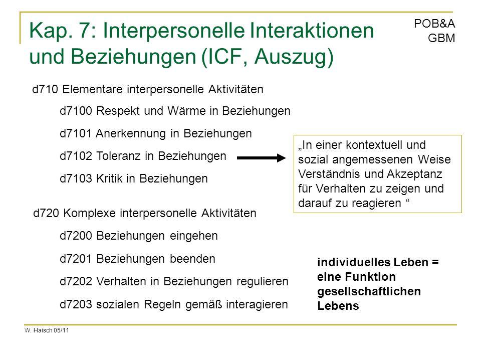 W. Haisch 05/11 POB&A GBM Kap. 7: Interpersonelle Interaktionen und Beziehungen (ICF, Auszug) d710 Elementare interpersonelle Aktivitäten d720 Komplex