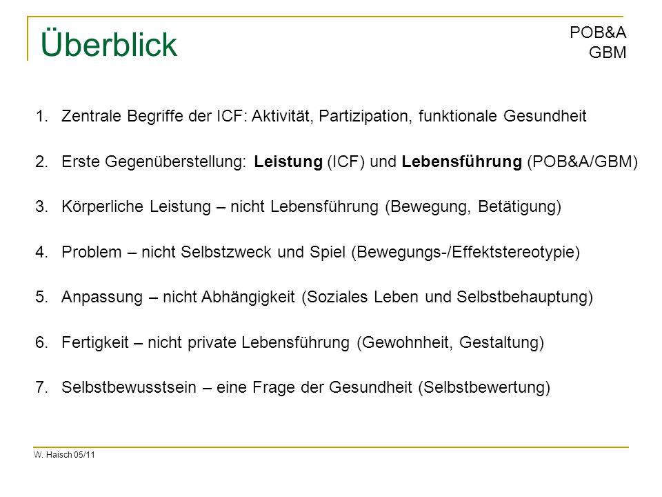 W. Haisch 05/11 POB&A GBM Überblick 1.Zentrale Begriffe der ICF: Aktivität, Partizipation, funktionale Gesundheit 2.Erste Gegenüberstellung: Leistung