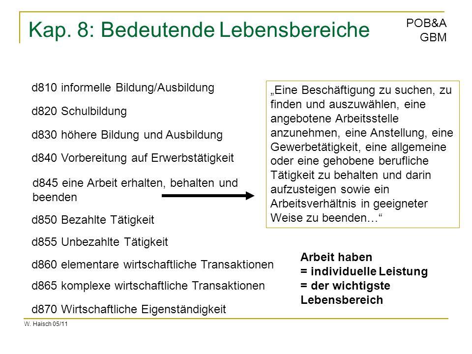 W. Haisch 05/11 POB&A GBM Kap. 8: Bedeutende Lebensbereiche d810 informelle Bildung/Ausbildung d855 Unbezahlte Tätigkeit d820 Schulbildung d830 höhere