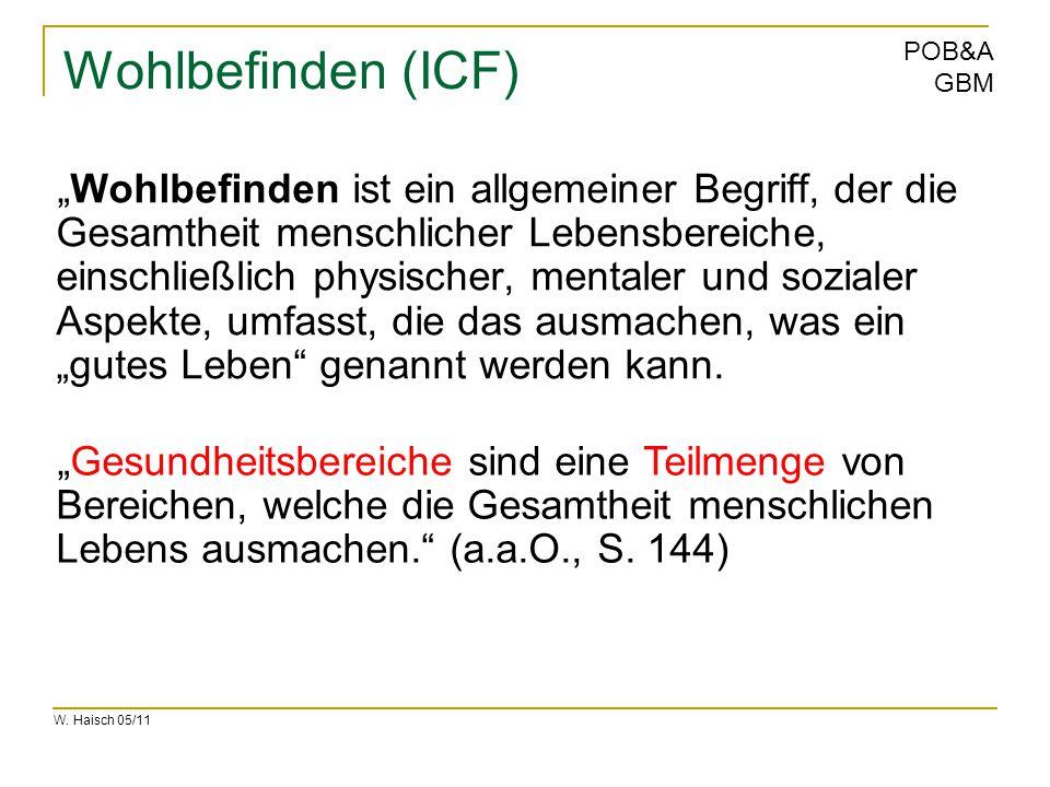 """W. Haisch 05/11 POB&A GBM Wohlbefinden (ICF) """"Wohlbefinden ist ein allgemeiner Begriff, der die Gesamtheit menschlicher Lebensbereiche, einschließlich"""