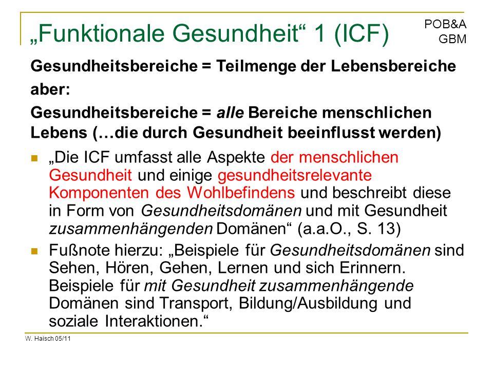"""W. Haisch 05/11 POB&A GBM """"Funktionale Gesundheit"""" 1 (ICF) """"Die ICF umfasst alle Aspekte der menschlichen Gesundheit und einige gesundheitsrelevante K"""
