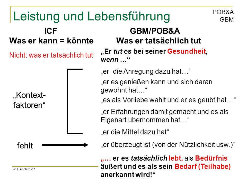 """W. Haisch 05/11 POB&A GBM Leistung und Lebensführung Nicht: was er tatsächlich tut """"Er tut es bei seiner Gesundheit, wenn …"""" """"er die Anregung dazu hat"""