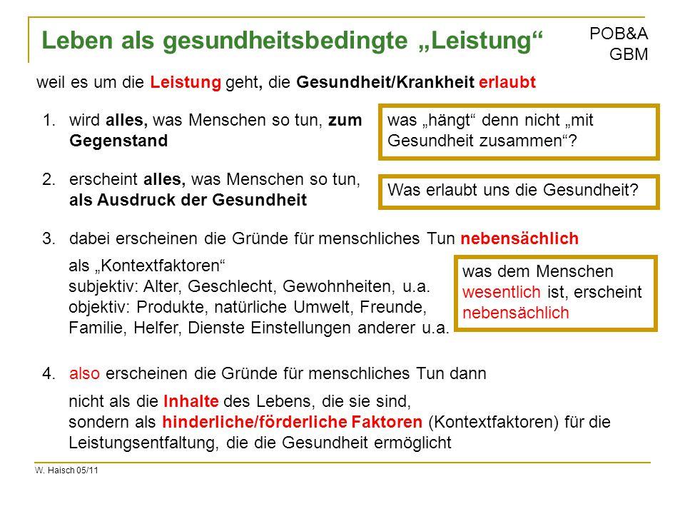 """W. Haisch 05/11 POB&A GBM Leben als gesundheitsbedingte """"Leistung"""" 1.wird alles, was Menschen so tun, zum Gegenstand 3.dabei erscheinen die Gründe für"""