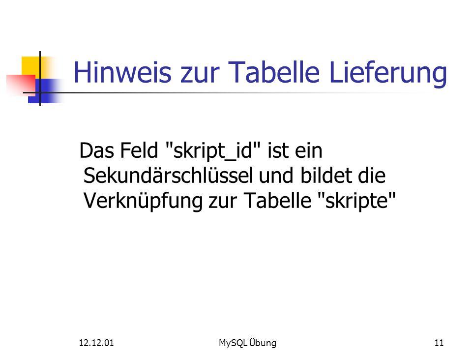 12.12.01MySQL Übung11 Hinweis zur Tabelle Lieferung Das Feld