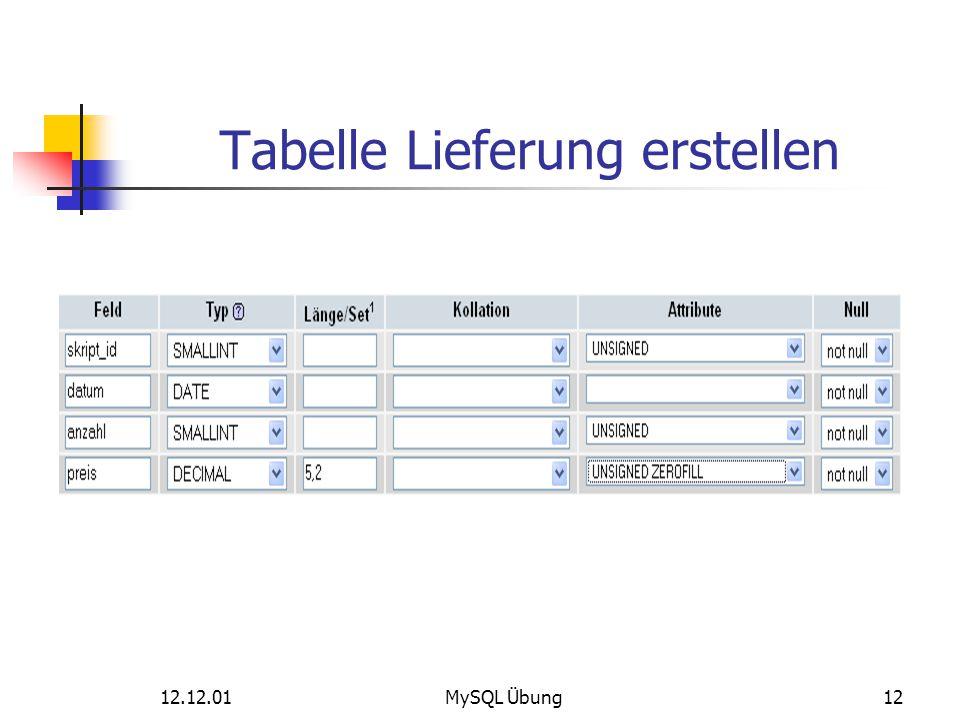 Tabelle Lieferung erstellen 12.12.01MySQL Übung12