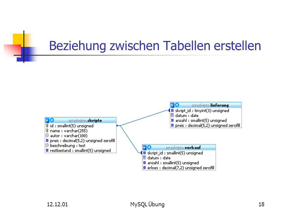 Beziehung zwischen Tabellen erstellen 12.12.01MySQL Übung18