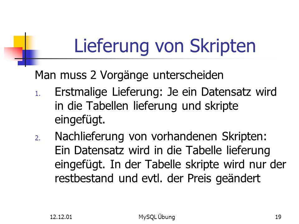 12.12.01MySQL Übung19 Lieferung von Skripten Man muss 2 Vorgänge unterscheiden 1. Erstmalige Lieferung: Je ein Datensatz wird in die Tabellen lieferun