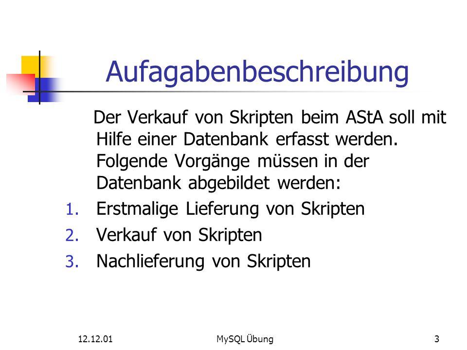 12.12.01MySQL Übung3 Aufagabenbeschreibung Der Verkauf von Skripten beim AStA soll mit Hilfe einer Datenbank erfasst werden. Folgende Vorgänge müssen