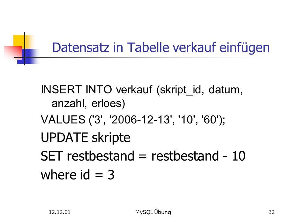 12.12.01MySQL Übung32 Datensatz in Tabelle verkauf einfügen INSERT INTO verkauf (skript_id, datum, anzahl, erloes) VALUES ('3', '2006-12-13', '10', '6