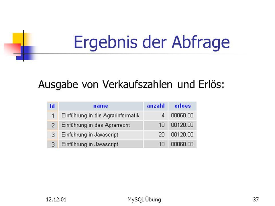 Ergebnis der Abfrage Ausgabe von Verkaufszahlen und Erlös: 12.12.01MySQL Übung37