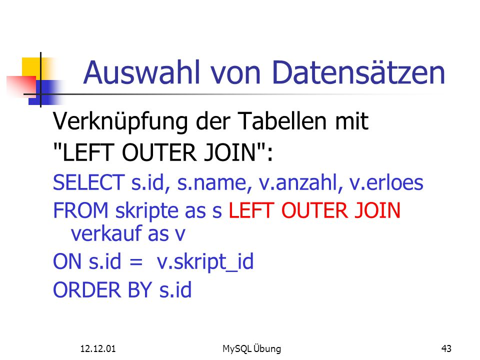 12.12.01MySQL Übung43 Auswahl von Datensätzen Verknüpfung der Tabellen mit
