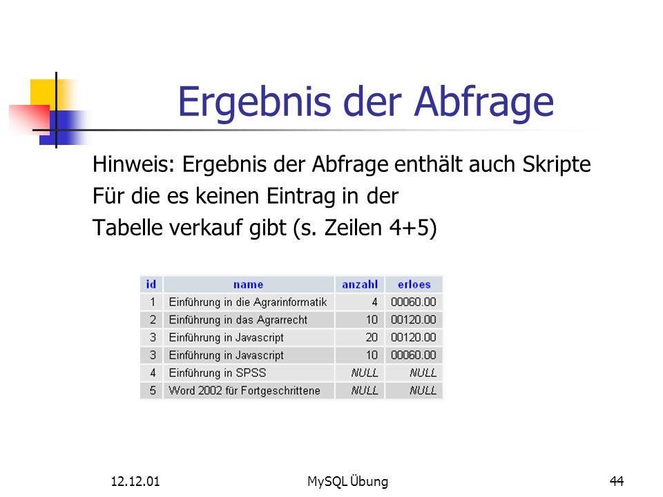 12.12.01MySQL Übung44 Ergebnis der Abfrage Hinweis: Ergebnis der Abfrage enthält auch Skripte Für die es keinen Eintrag in der Tabelle verkauf gibt (s