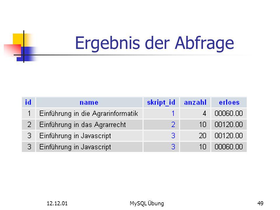 12.12.01MySQL Übung49 Ergebnis der Abfrage