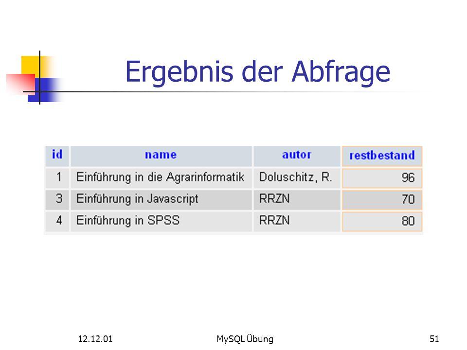 12.12.01MySQL Übung51 Ergebnis der Abfrage
