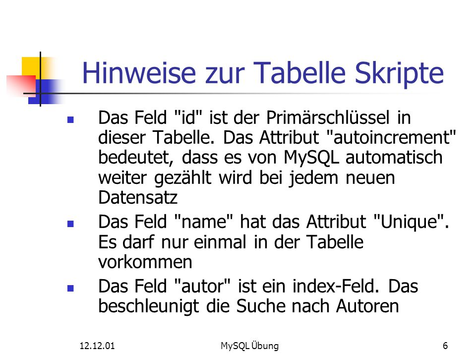 12.12.01MySQL Übung47 Auswahl von Datensätzen Ausgabe von Verkaufszahlen: SELECT s.id, s.name, v.skript_id, v.anzahl, v.erloes FROM verkauf as v LEFT OUTER JOIN skripte as s ON s.id = v.skript_id ORDER BY s.id