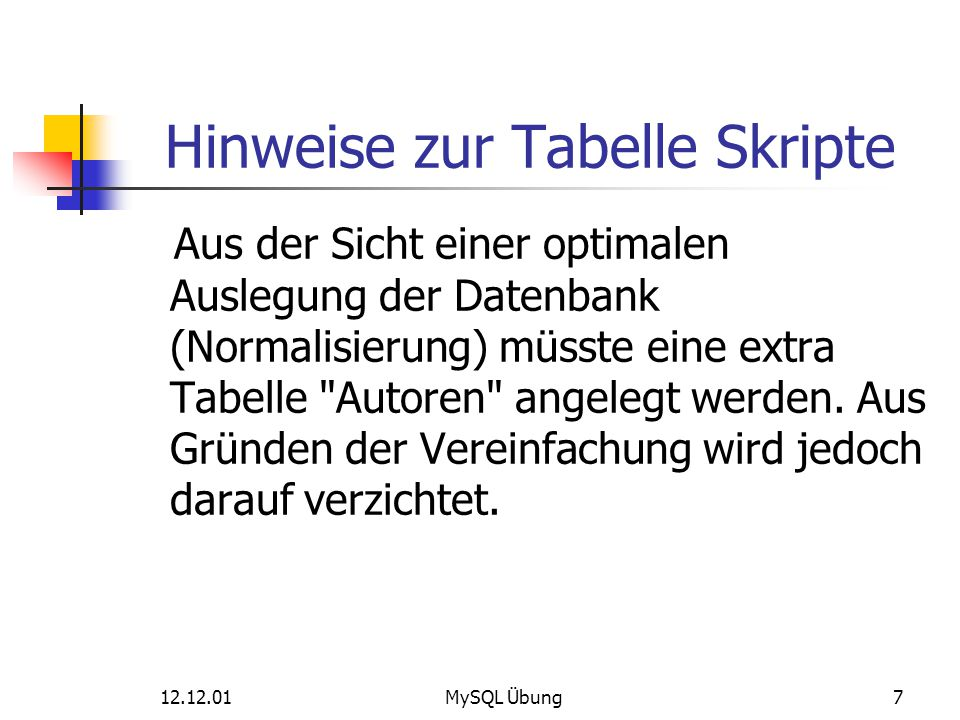 12.12.01MySQL Übung38 Auswahl von Datensätzen Ausgabe der verkauften Skripte in 2005 select s.id, s.name, s.autor, v.anzahl, v.datum, v.erloes from skripte as s, verkauf as v where s.id = v.skript_id AND v.datum LIKE 2005% ORDER BY s.id Ergebnis der Abfrage: