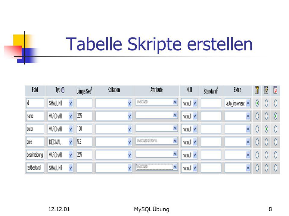 12.12.01MySQL Übung8 Tabelle Skripte erstellen