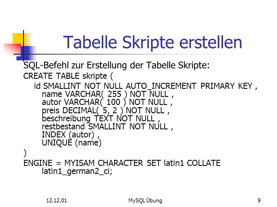 12.12.01MySQL Übung9 Tabelle Skripte erstellen SQL-Befehl zur Erstellung der Tabelle Skripte: CREATE TABLE skripte ( id SMALLINT NOT NULL AUTO_INCREME