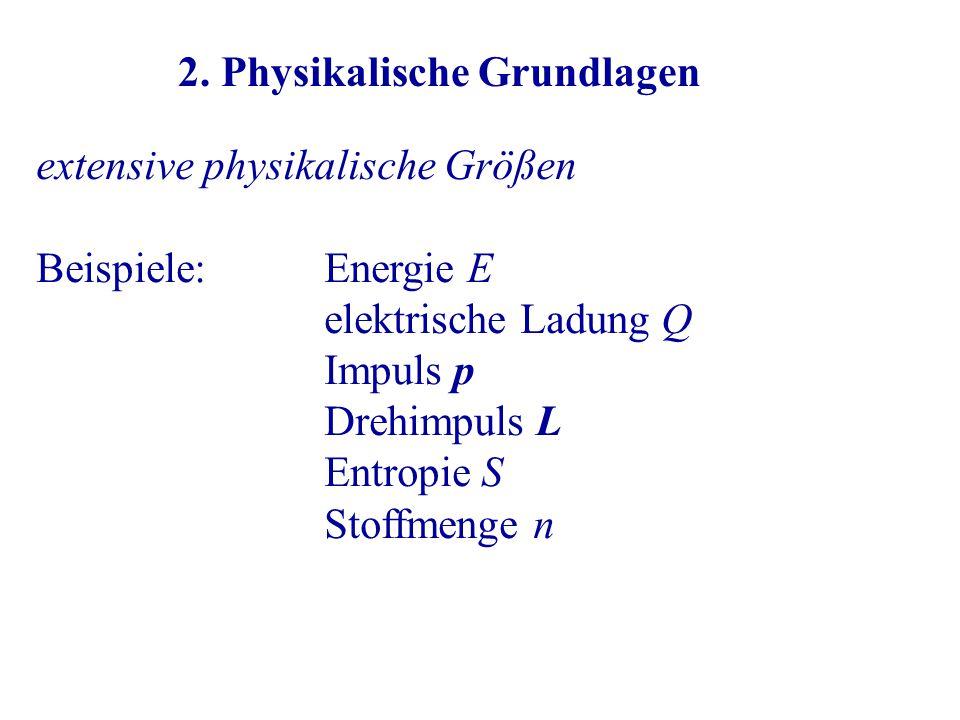 extensive physikalische Größen Beispiele:Energie E elektrische Ladung Q Impuls p Drehimpuls L Entropie S Stoffmenge n 2.