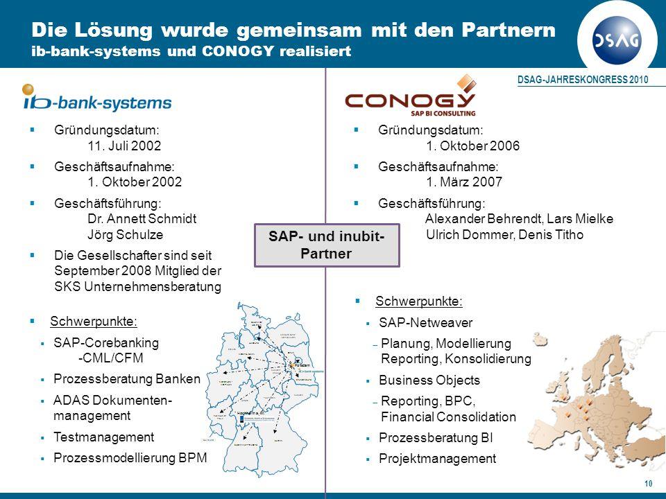 DSAG-JAHRESKONGRESS 2010 10 Die Lösung wurde gemeinsam mit den Partnern ib-bank-systems und CONOGY realisiert  Gründungsdatum: 11.