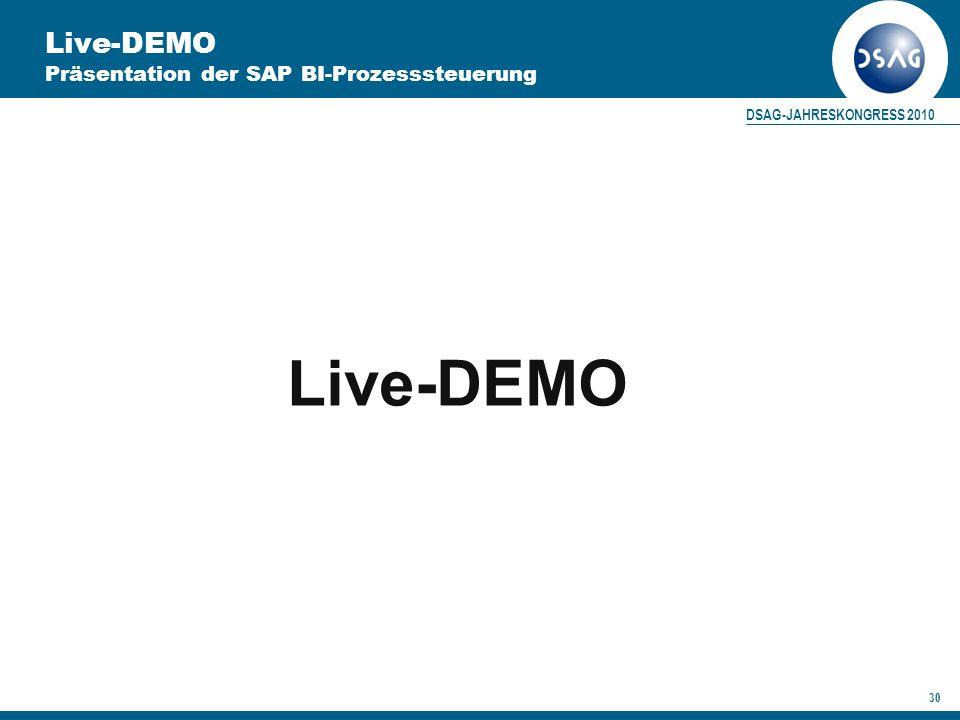 DSAG-JAHRESKONGRESS 2010 30 Live-DEMO Präsentation der SAP BI-Prozesssteuerung Live-DEMO