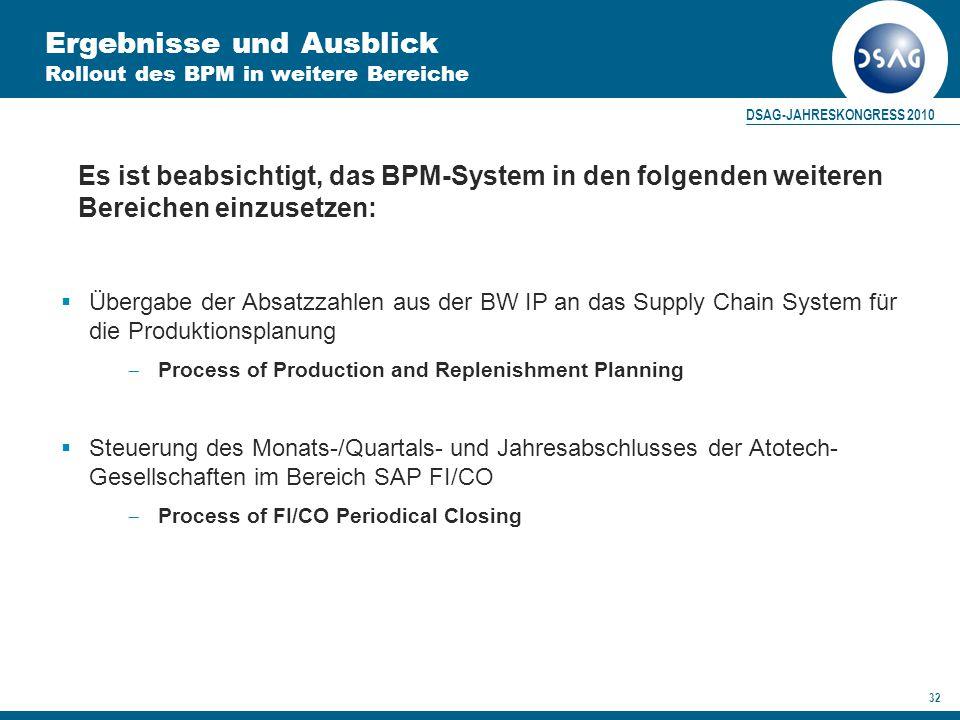 DSAG-JAHRESKONGRESS 2010 32 Ergebnisse und Ausblick Rollout des BPM in weitere Bereiche Es ist beabsichtigt, das BPM-System in den folgenden weiteren Bereichen einzusetzen:  Übergabe der Absatzzahlen aus der BW IP an das Supply Chain System für die Produktionsplanung  Process of Production and Replenishment Planning  Steuerung des Monats-/Quartals- und Jahresabschlusses der Atotech- Gesellschaften im Bereich SAP FI/CO  Process of FI/CO Periodical Closing