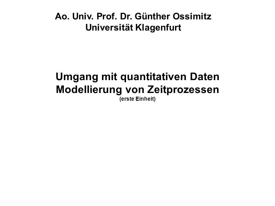 Umgang mit quantitativen Daten Modellierung von Zeitprozessen (erste Einheit) Ao. Univ. Prof. Dr. Günther Ossimitz Universität Klagenfurt