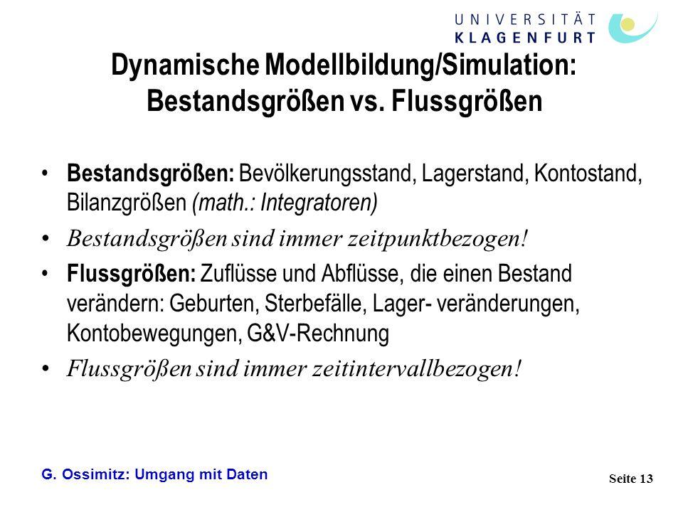 G. Ossimitz: Umgang mit Daten Seite 13 Dynamische Modellbildung/Simulation: Bestandsgrößen vs. Flussgrößen Bestandsgrößen: Bevölkerungsstand, Lagersta