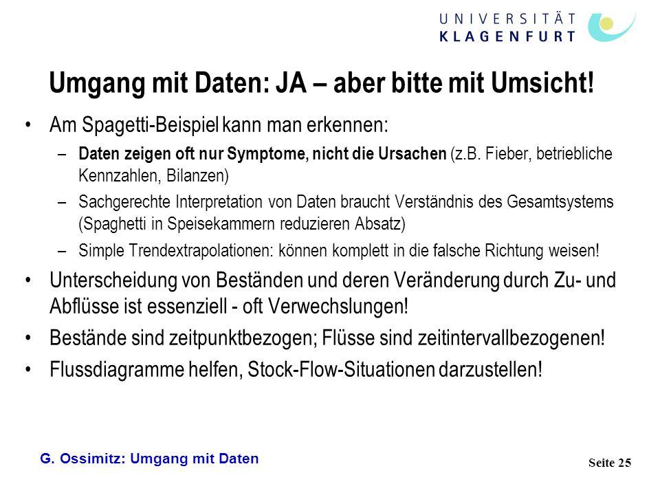 G. Ossimitz: Umgang mit Daten Seite 25 Umgang mit Daten: JA – aber bitte mit Umsicht! Am Spagetti-Beispiel kann man erkennen: – Daten zeigen oft nur S