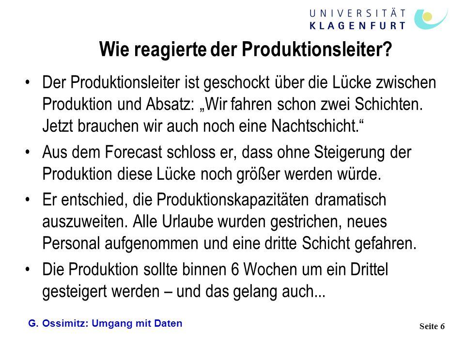G. Ossimitz: Umgang mit Daten Seite 6 Wie reagierte der Produktionsleiter? Der Produktionsleiter ist geschockt über die Lücke zwischen Produktion und