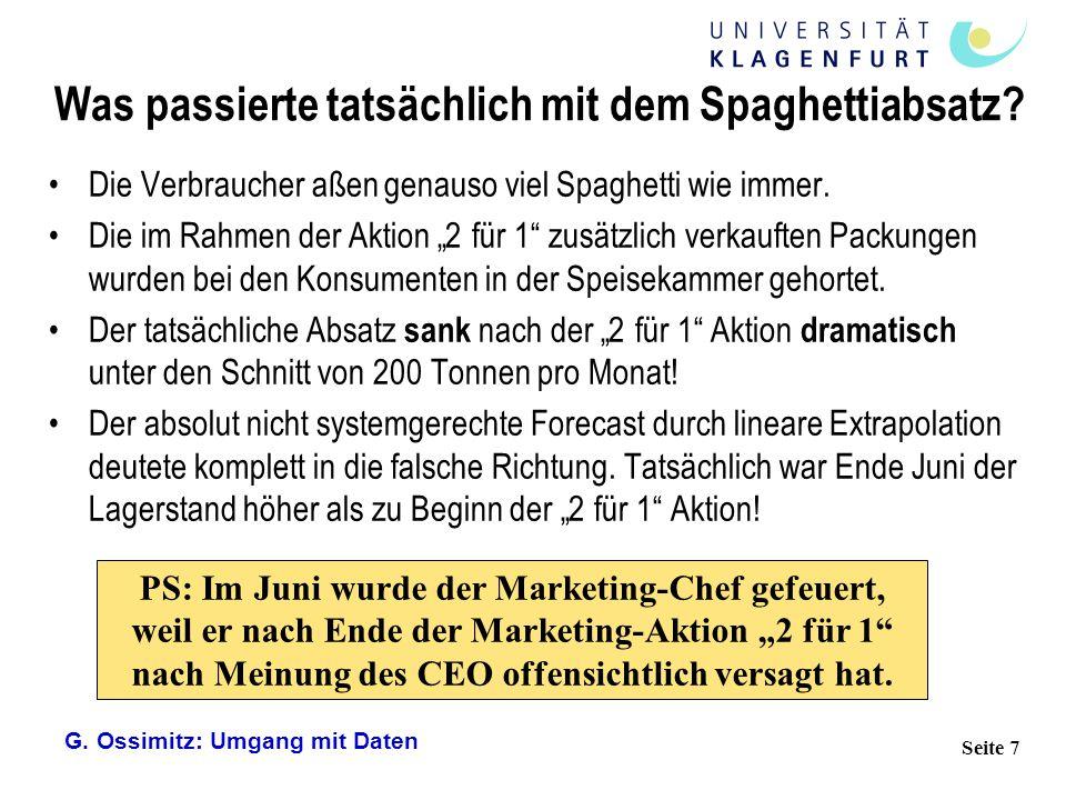 G. Ossimitz: Umgang mit Daten Seite 7 Was passierte tatsächlich mit dem Spaghettiabsatz? Die Verbraucher aßen genauso viel Spaghetti wie immer. Die im