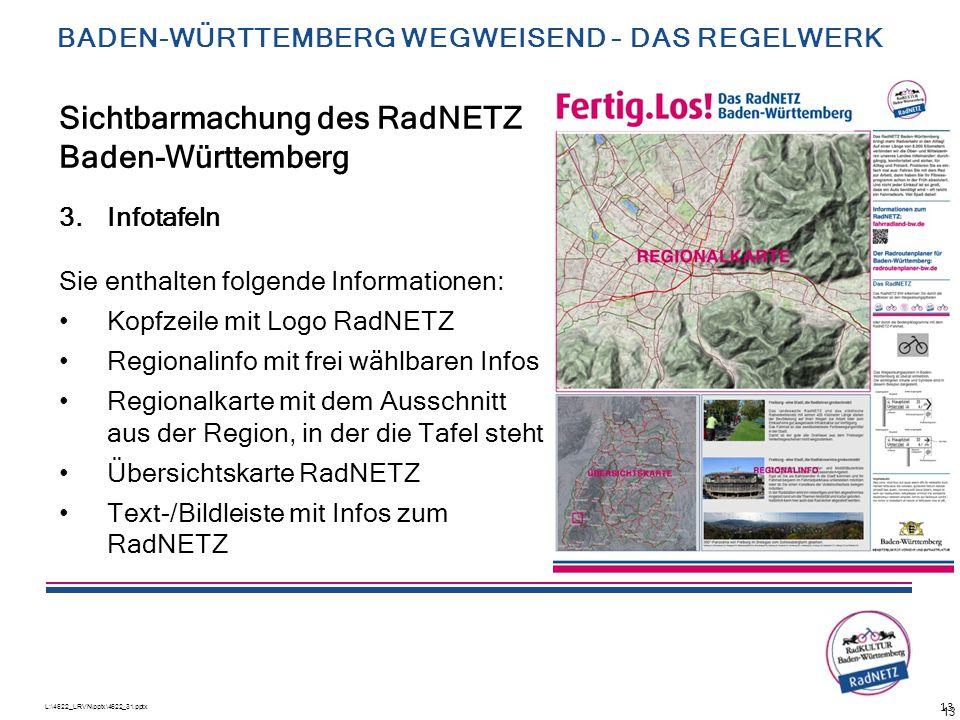 L:\4622_LRVN\pptx\4622_31.pptx 13 3.Infotafeln Sie enthalten folgende Informationen: Kopfzeile mit Logo RadNETZ Regionalinfo mit frei wählbaren Infos