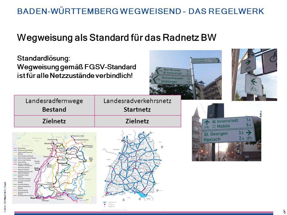 5 L:\4622_LRVN\pptx\4622_31.pptx 5 5 Standardlösung: Wegweisung gemäß FGSV-Standard ist für alle Netzzustände verbindlich! Wegweisung als Standard für
