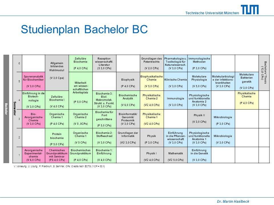 Technische Universität München Dr. Martin Haslbeck Studienplan Bachelor BC Semester 6 Allgemein bildendes Wahlmodul (V 3,0 Cpa) Zelluläre Biochemie (P