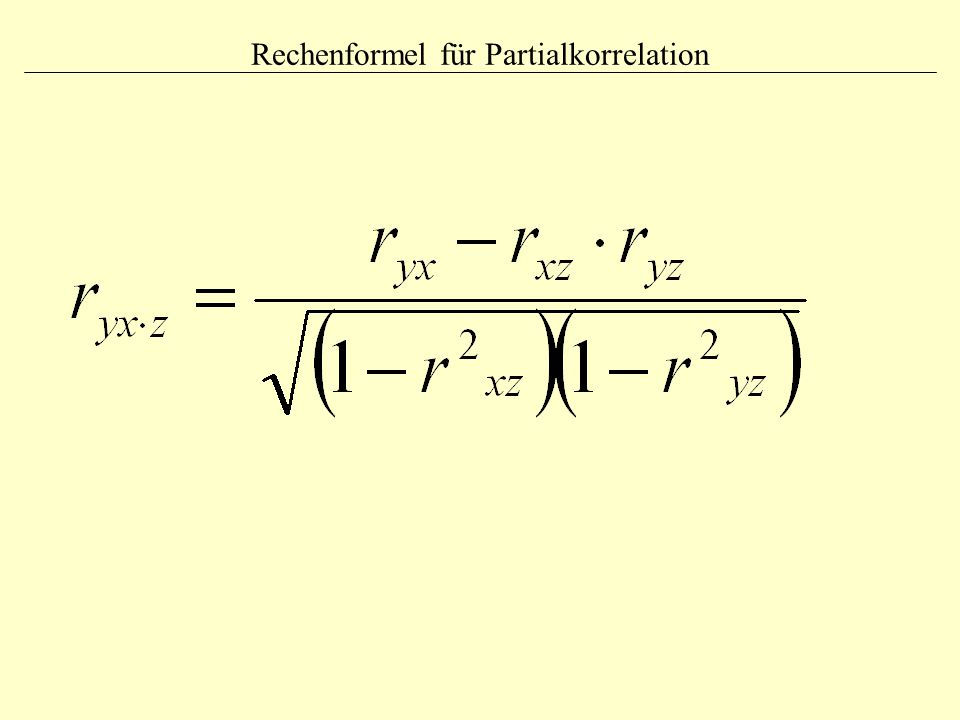 Rechenformel für Partialkorrelation