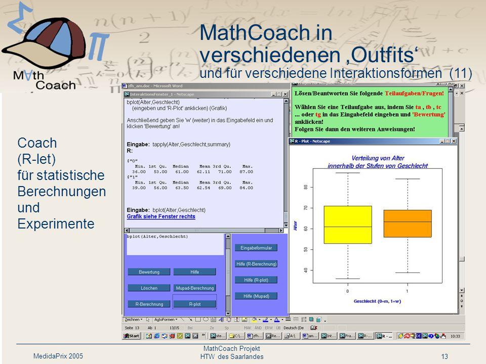 MedidaPrix 2005 MathCoach Projekt HTW des Saarlandes13 Coach (R-let) für statistische Berechnungen und Experimente MathCoach in verschiedenen 'Outfits' und für verschiedene Interaktionsformen (11)